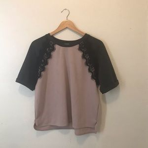 Sweatshirt material t length top with lace detail